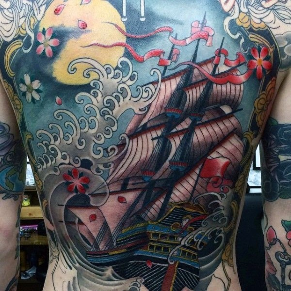 3D like very detailed nautical tattoo on sailing ship with flowers