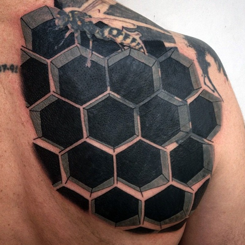 3D realistic black and white bee house tattoo on shoulder