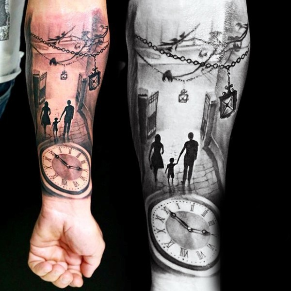3D realistic like colored big clock with family on street arm tattoo