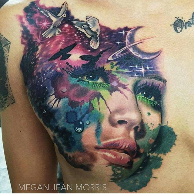 3D style beautiful looking chest tattoo of woman face stylized with birds and moon