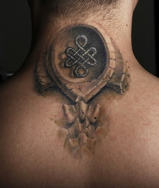 3D style big bones tattoo on neck with Celtic symbol