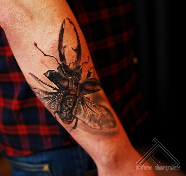 3D style gorgeous painted and detailed forearm tattoo of big bug