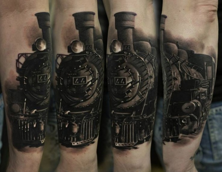 3D style very detailed arm tattoo of large accurate train