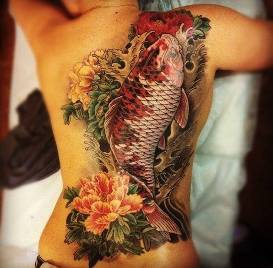 Amazing large japanese flowers and koi fish tattoo on back
