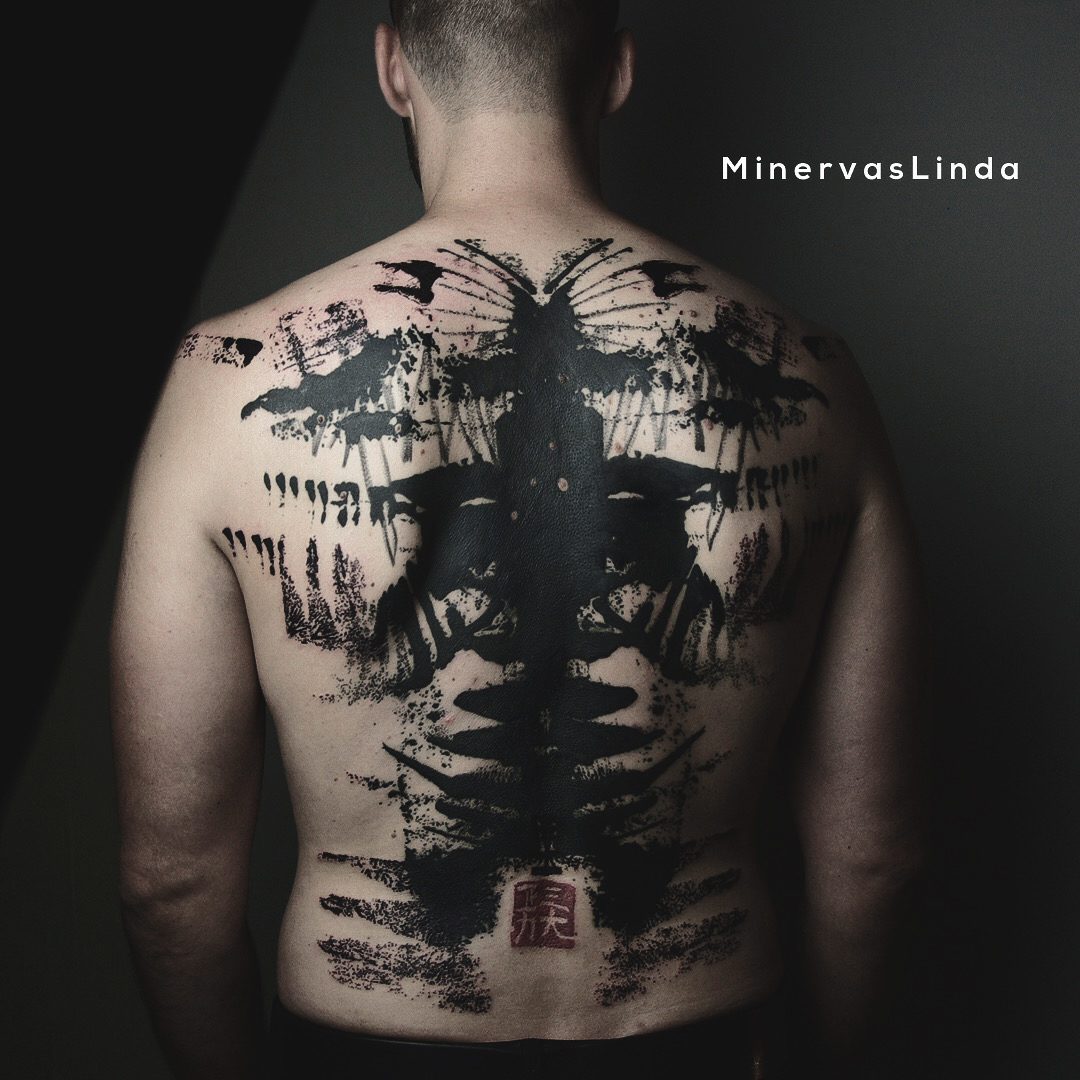 Asian style tattoo on whole back by Minervas Linda