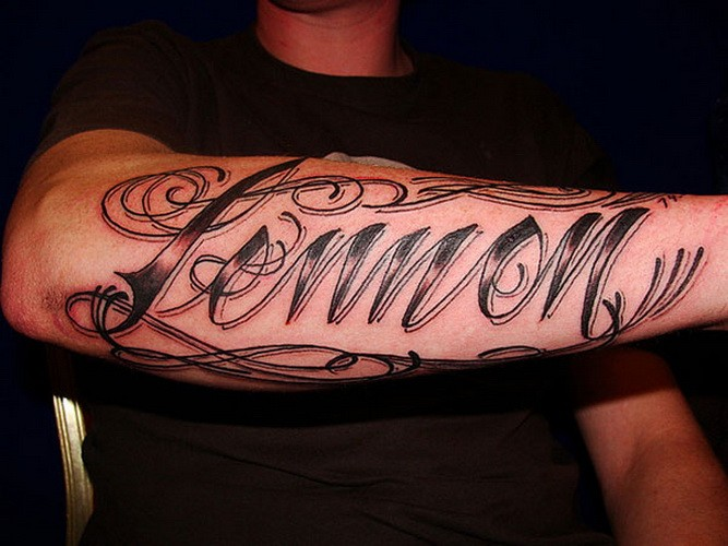 Awesome harsh-lettered quote tattoo for guys on arm