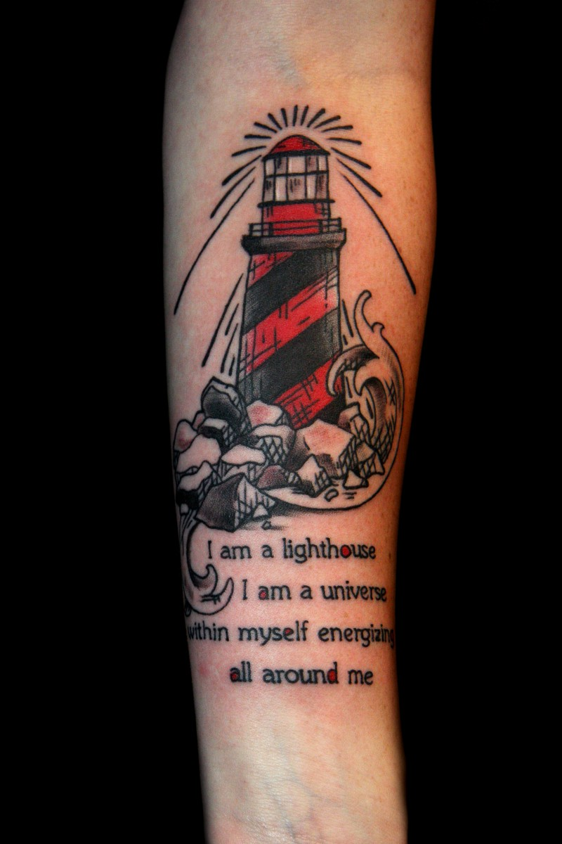 Beautiful colorful lighthouse with quote tattoo on forearm