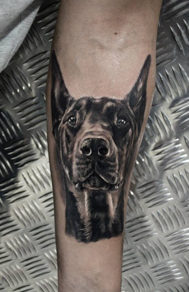 Black-and-white doberman face tattoo for men on arm