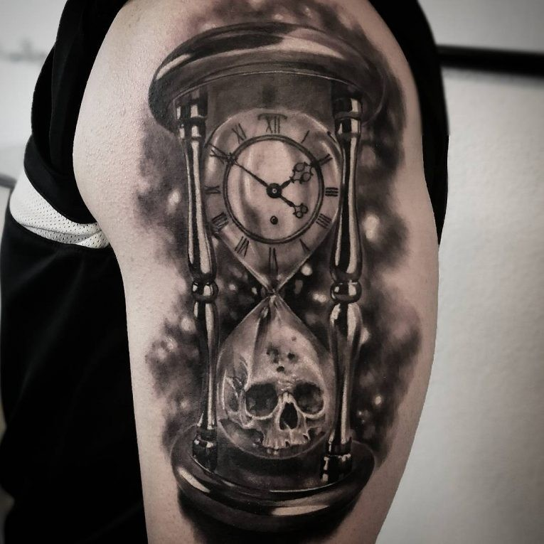 Black grey time and death hourglass tattoo on shoulder