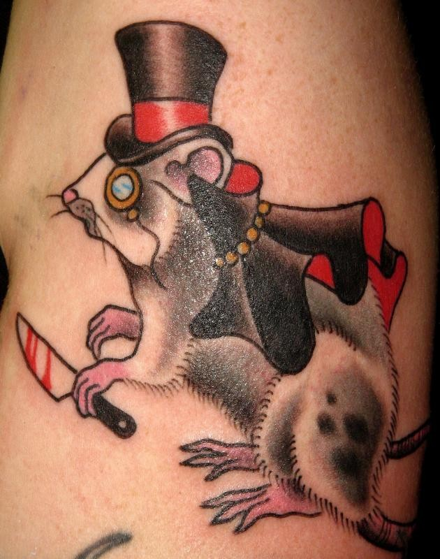 Cool color-ink old-school rodent in hat tattoo