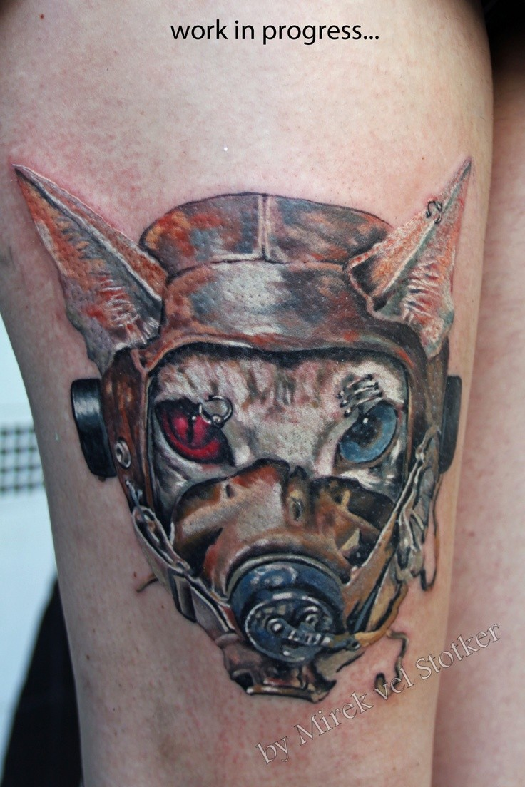 Cool reepy looking colored tattoo of cat pilot