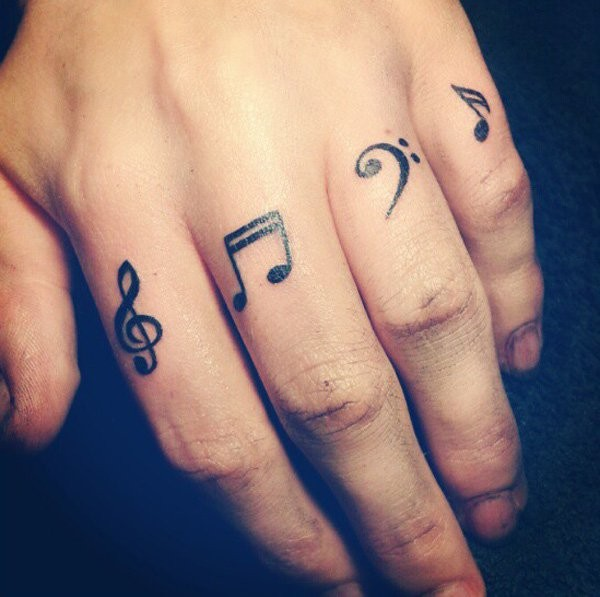 Cool small black music sign tattoos on finger