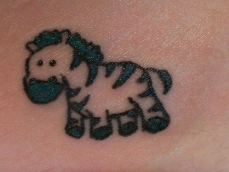 Cute funny cartoon zebra tattoo