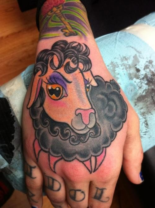 Cute girly colorful sheep tattoo on hand