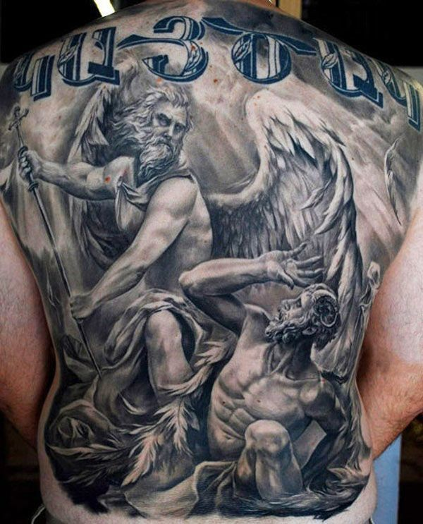 Enormous black and white whole back tattoo of angels fight and lettering