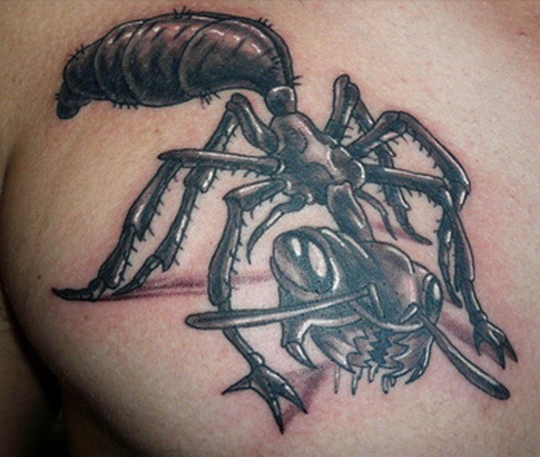 Evil black-and-white ant tattoo for men on chest