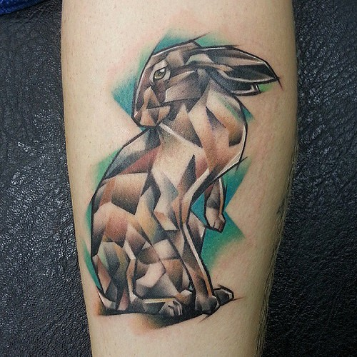 Great abstract colorful hare tattoo on arm