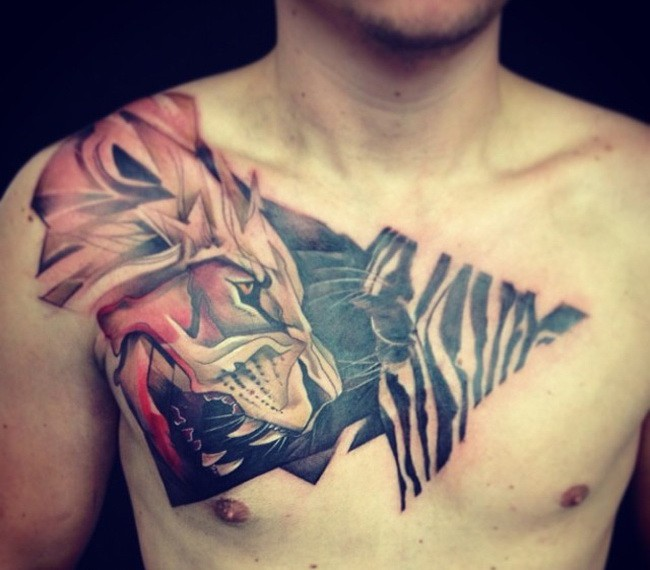 Great colorful lion and zebra tattoo for men on chest