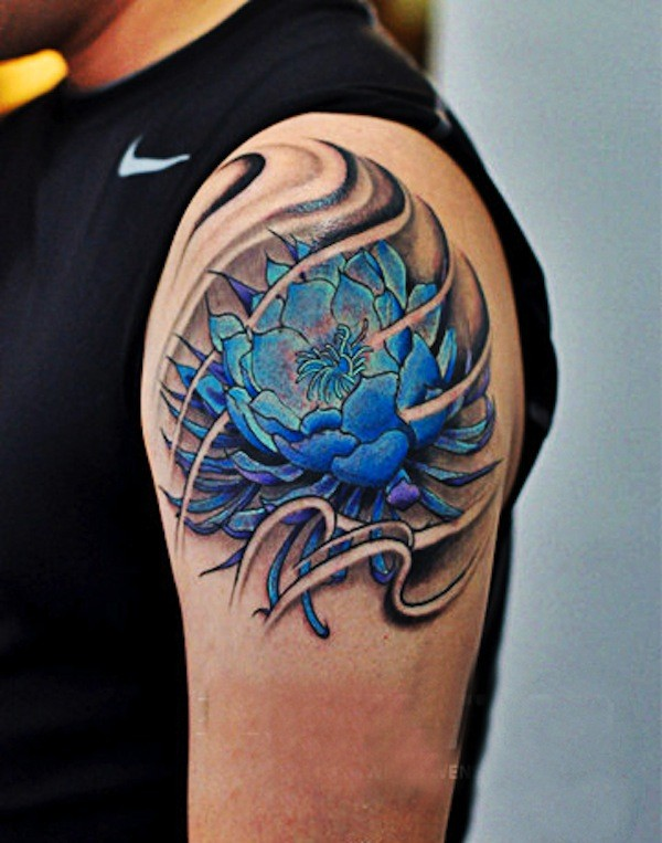 Great large blue flower tattoo for men on shoulder
