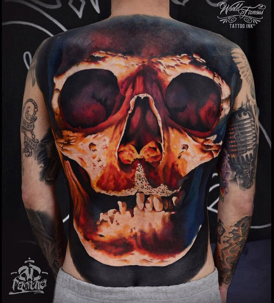 Great skull tattoo on full back by A.D. Pancho