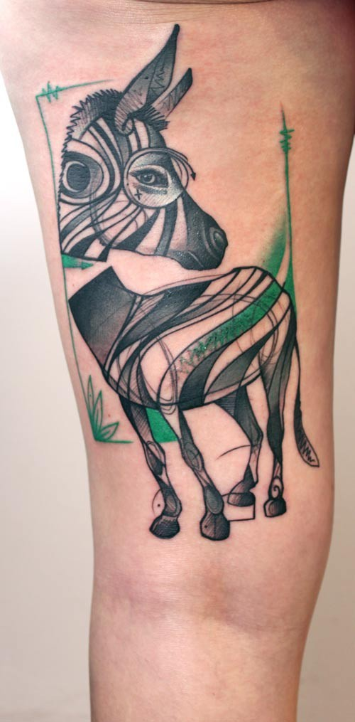Impressive abstract colorful zebra tattoo on thigh