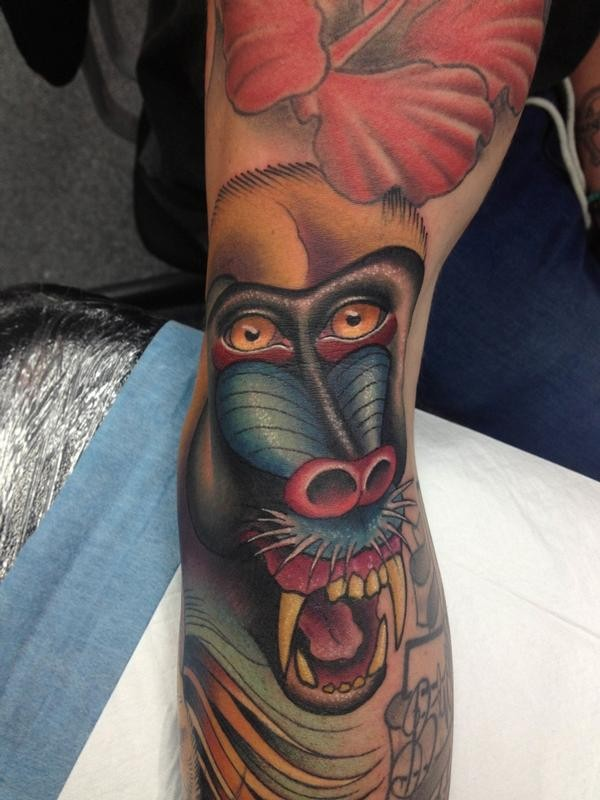 Impressive color-ink baboon tattoo on arm