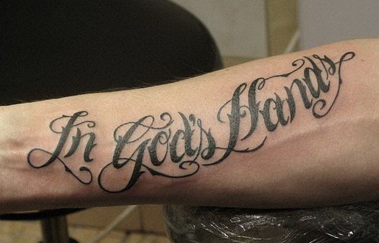 In Gods hands quote tattoo on arm