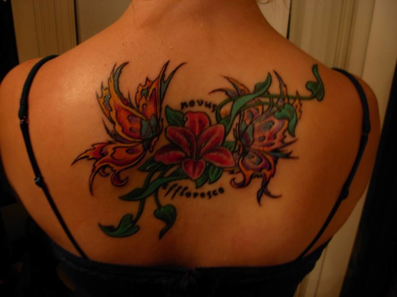Interesting colorful exotic flower with butterfly and quote tattoo on back