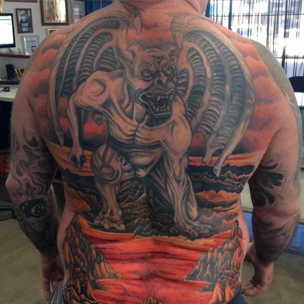 LArge demonic whole back tattoo of gargoyle in hell
