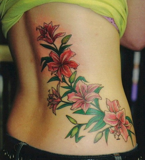 Large colorful hawaiian flowers tattoo for girls on back