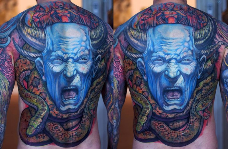 Large whole back tattoo of blue demonic monster with snake
