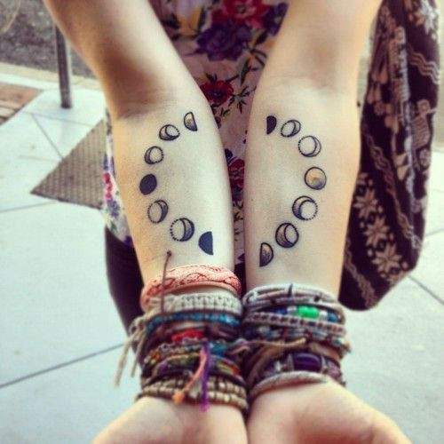 Little cute girly moon phase tattoo on forearms