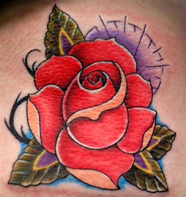 Lovely traditional rose flower tattoo for girls