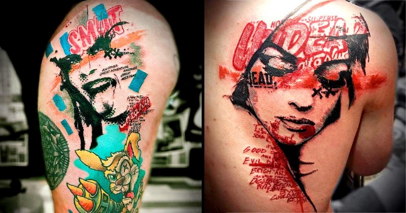 Modern trash polka style colored thigh tattoo of creepy woman with lettering