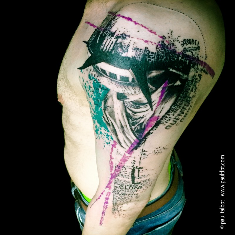 New school style colored upper arm tattoo of Statue of Liberty with lettering