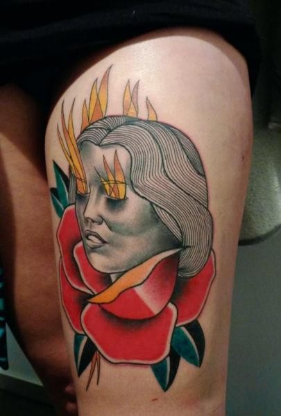 New school style painted by Mariusz Trubisz thigh tattoo of woman with flaming eyes and rose