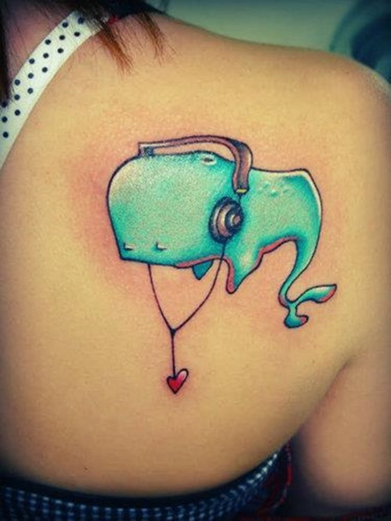 Old cartoons like colored big animal wale listening to music tattoo on shoulder