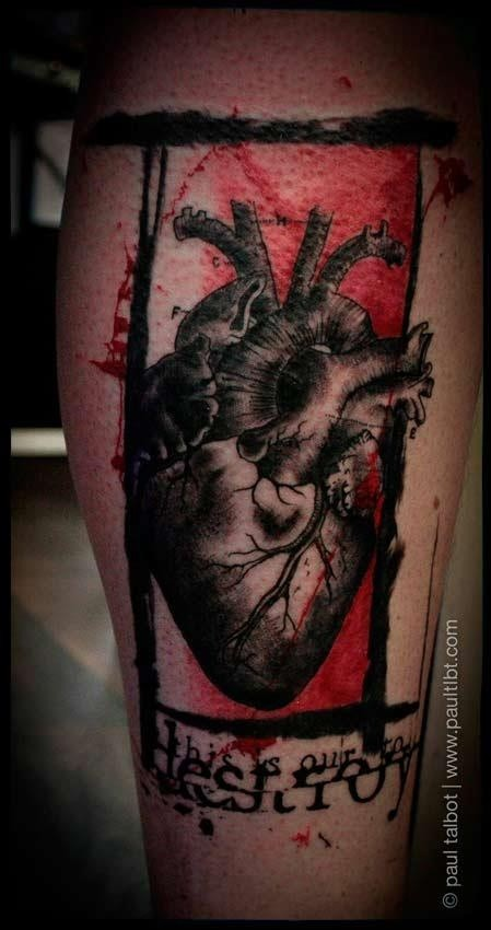 Old school style colored leg tattoo of human heart