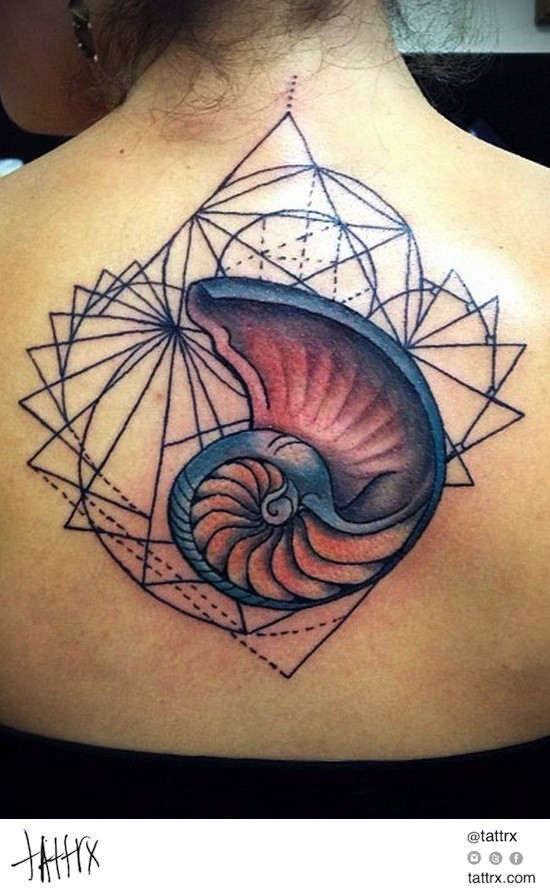 Old school style colored upper back tattoo of nautilus shell with geometrical figures