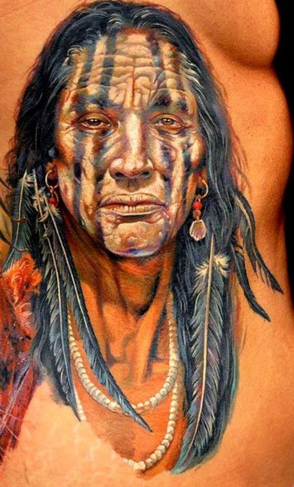 Photographic Indian warrior on belly