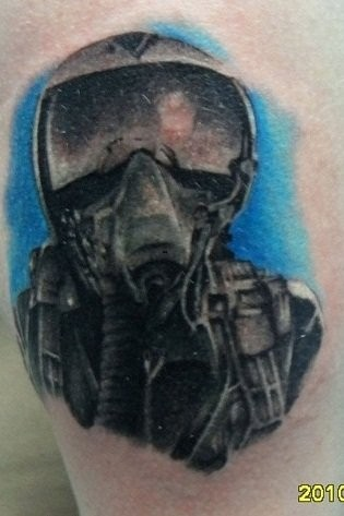 SImple illustrative style colore fighter pilot tattoo