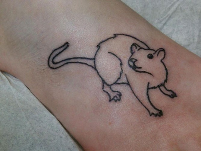 Simple lovely rodent tattoo on ankle