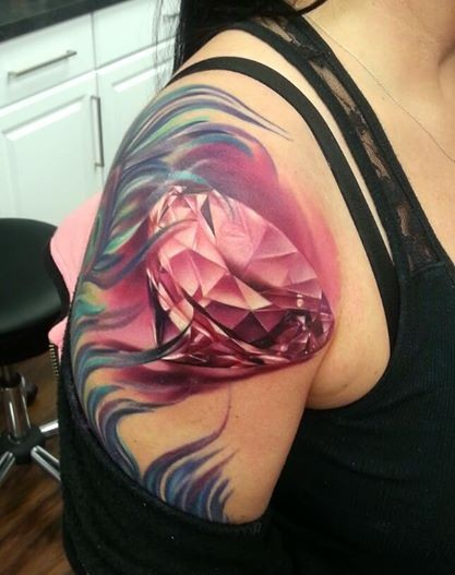 New school style colored shoulder tattoo of pink diamond