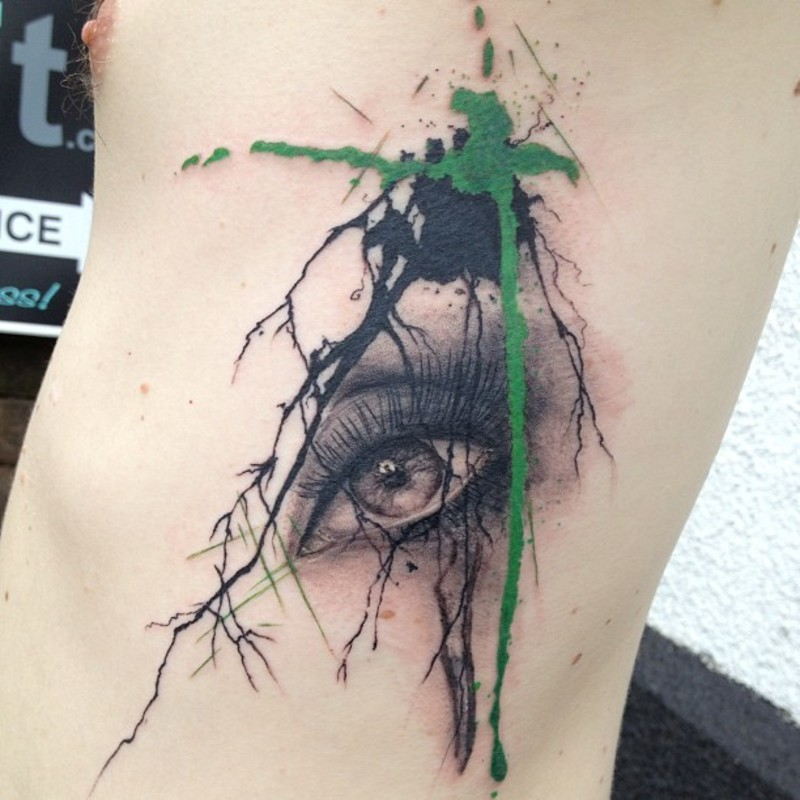 Watercolor style colored tattoo of beautiful woman eye