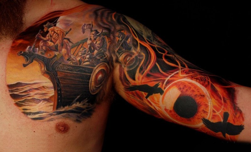 Wonderful Viking ship with warriors abord tattoo on chest