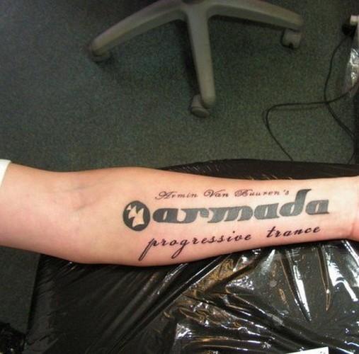Wonderful music quote tattoo on arm