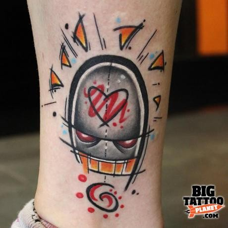 Abstract style colored ankle tattoo of alien totem