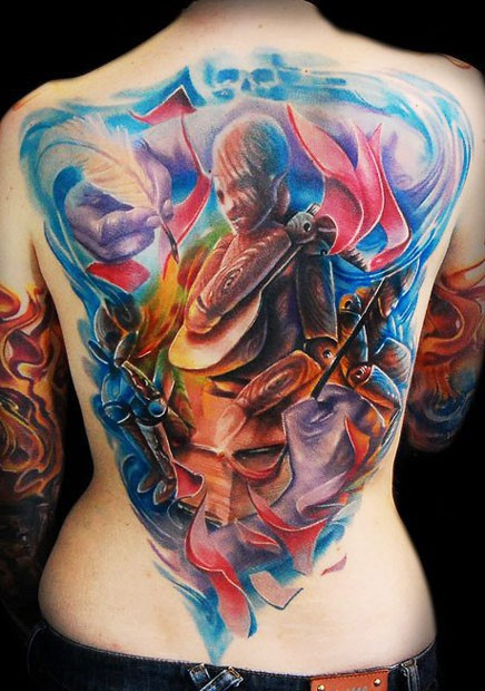 Abstract style colored back tattoo of mystical looking figure with feather