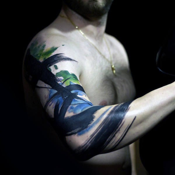 Abstract style colored half sleeve tattoo of big lines