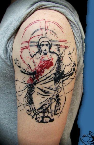 Abstract style colored shoulder tattoo of saint Jesus with cross